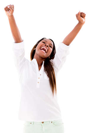 excited: Excited woman with arms up - isolated over a white background