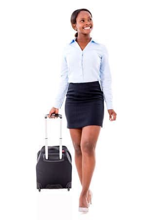 american content: Happy woman on a business trip - isolated over white
