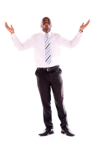 Powerful business man with arms open - isolated over a white background photo