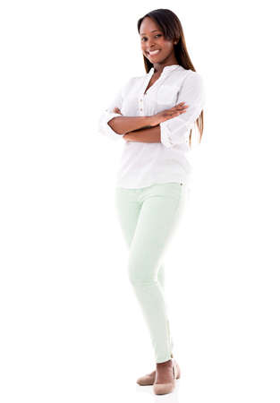 Casual woman smiling with arms crossed - isolated over a white background Stock Photo - 20893856