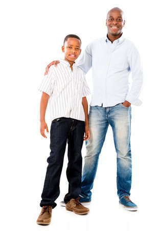 Portrait of a happy father and son smiling - isolated over white Stock Photo - 20893893