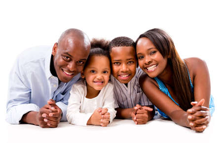 happy african: Beautiful family portrait smiling - isolated over a white background