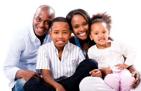 happy african: Casual family portrait smiling - isolated over a white background Stock Photo