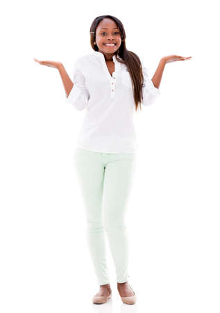 clueless: Casual woman looking clueless - isolated over a white background Stock Photo