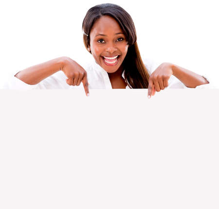 sign: Happy woman pointing at a banner - isolated over a white background Stock Photo