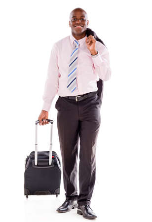 Business man going on a trip carrying a bag - isolated over white Stock Photo - 20924533