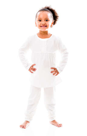 Cute little African American girl smiling - isolated over a white background Stock Photo - 20924540