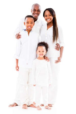 Beautiful African American family smiling - isolated over white background Stock Photo - 20924468
