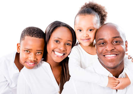 black woman white man: Beautiful African American family - isolated over a white background