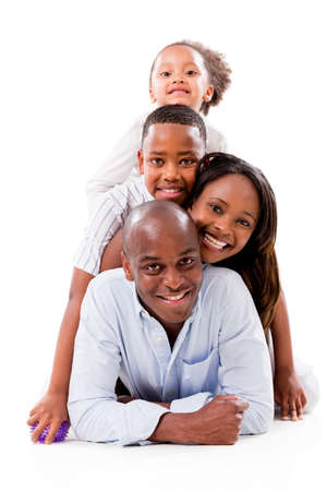 black children: Happy famiy portrait having fun - isolated over a white background Stock Photo
