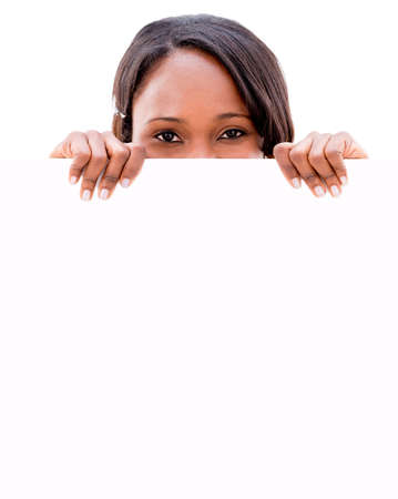 Woman holding a banner - isolated over a white background Stock Photo - 20962065