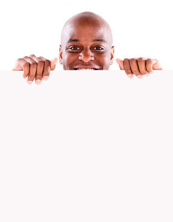 Man holding a banner - isolated over a white background Stock Photo - 20962072