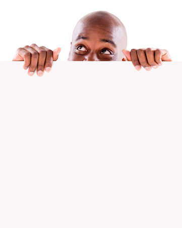 Thoughtful man with a banner - isolated over a white background Stock Photo - 20962073