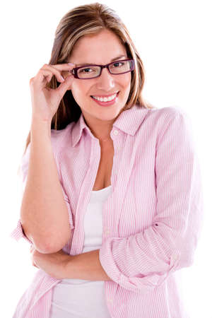 Casual woman wearing glasses - isolated over a white background photo