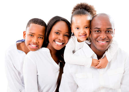 black woman white man: Happy family portrait - isolated over a white background