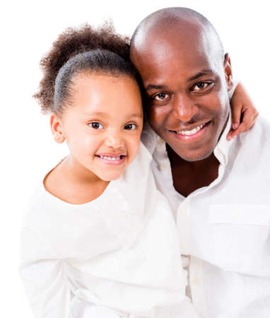 Beautiful girl hugging her father - isolated over a white background Stock Photo