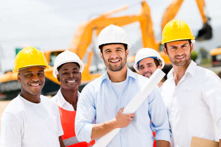 Happy group of working men at a construction site Stock Photo - 21467423
