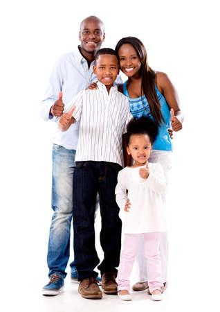famille africaine: Famille heureuse avec thumbs up - isol� sur un fond blanc