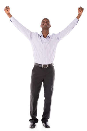 american content: Successful business man with arms up - isolated over white backround