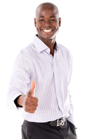 Happy Business man with thumbs up  - isolated over a white background Stock Photo - 21574947