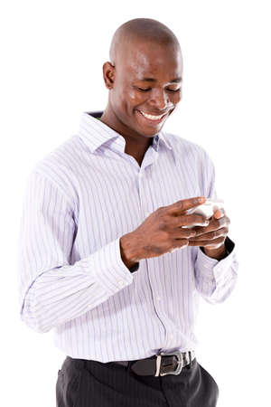 man with phone: Business man texting on his mobile phone  - isolated over a white background Stock Photo
