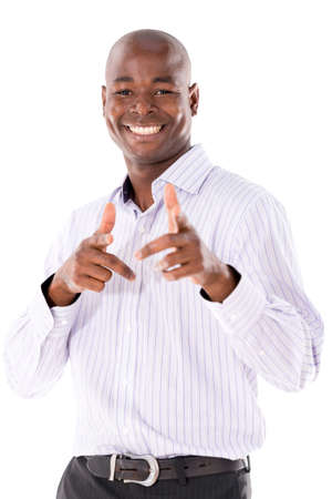apontador: Homem de neg�cios feliz que aponta para a c�mera - isolada sobre o branco Banco de Imagens