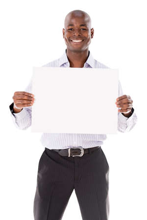 blank billboard: Business man holding a banner - isolated over a white background