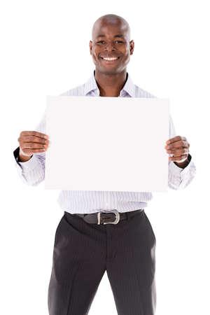 hombres negros: Hombre de negocios, sosteniendo una bandera - aislada sobre un fondo blanco