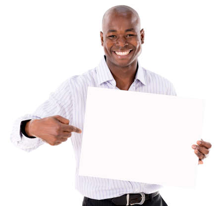 Business man pointing a banner - isolated over a white background Stock Photo - 21574978