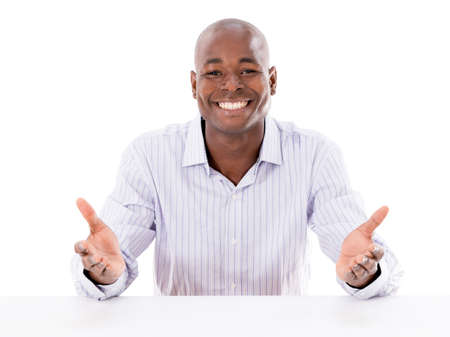 welcome desk: Friendly business man looking welcoming - isolated over white