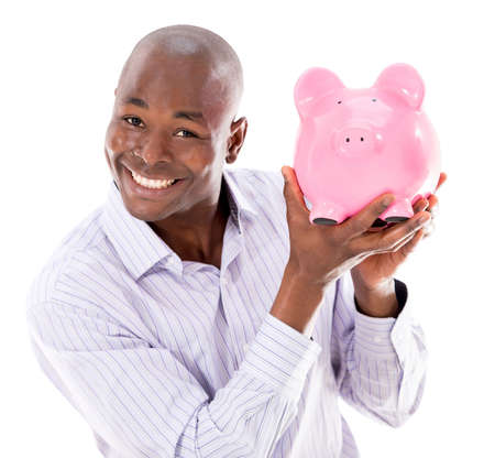 Happy business man with a piggybank - isolated over white background photo