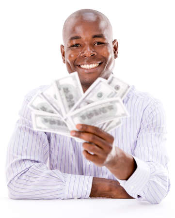 Happy business man with money in his hands - isolated over white Stock Photo - 21559731