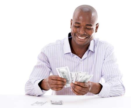lottery: Succesvolle zakenman geld tellen - geïsoleerd over white Stockfoto