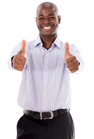 Very happy business man with thumbs up - isolated over white photo
