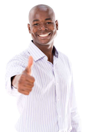 Positive business man with thumbs up - isolated over a white background Stock Photo - 21558741