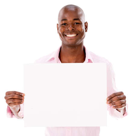 Happy man holding a banner - isolated over a white background photo