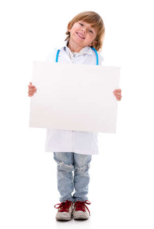 blank banner: Boy dressed as a doctor holding banner - isolated over white background
