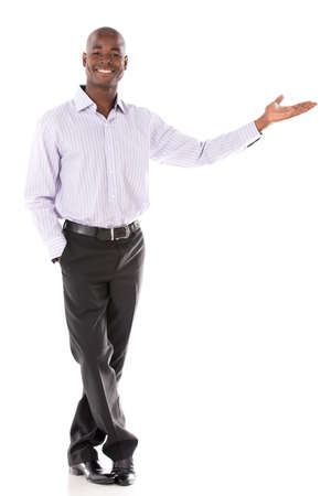 Welcoming business man looking happy - isolated over white background Stock Photo