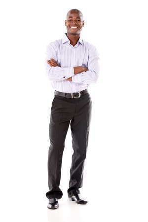 Confident business man smiling - isolated over a white background photo
