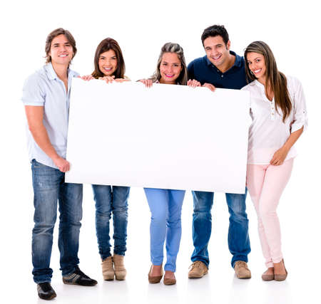a placard: Group of people holding a banner - isolated over white background Stock Photo