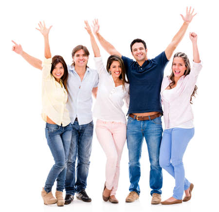 excited people: Excited group of people with arms up - isolated over a white background