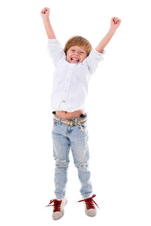 personas celebrando: Muchacho feliz con los brazos arriba - aislados en un fondo blanco