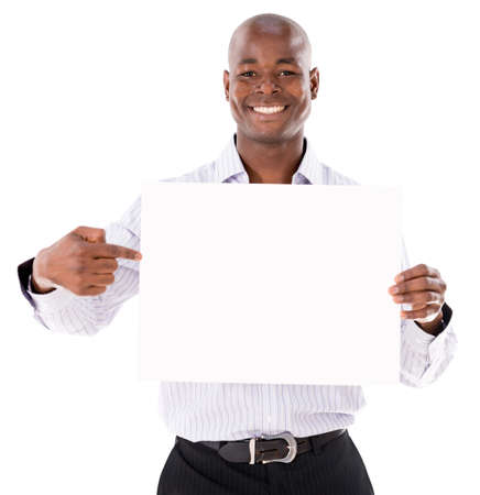 Happy business man with a banner - isolated over a white background Stock Photo - 21706000