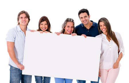 Group of people holding a banner - isolated over white background Stock Photo