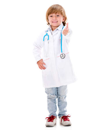 Happy young doctor with thumbs up - isolated over white background photo