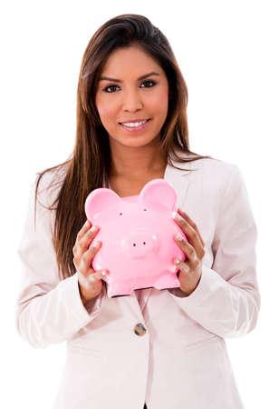 coinbank: Mujer de negocios con una hucha - aislados en un fondo blanco