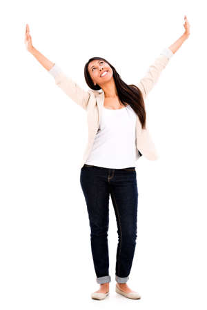 woman arms up: Very happy woman with arms up - isolated over a white background Stock Photo