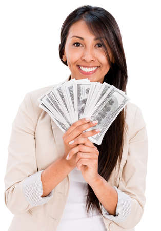 Happy woman with a bunch of money - isolated over white background photo