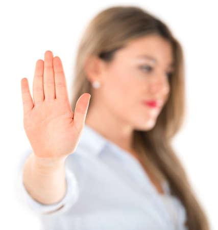 Indifferent Frau sprechen auf die Hand portrait - isoliert über weiß Lizenzfreie Bilder