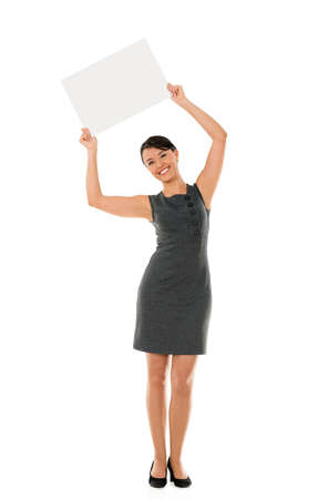 Happy business woman holding a banner - isolated over white Stock Photo - 22087512